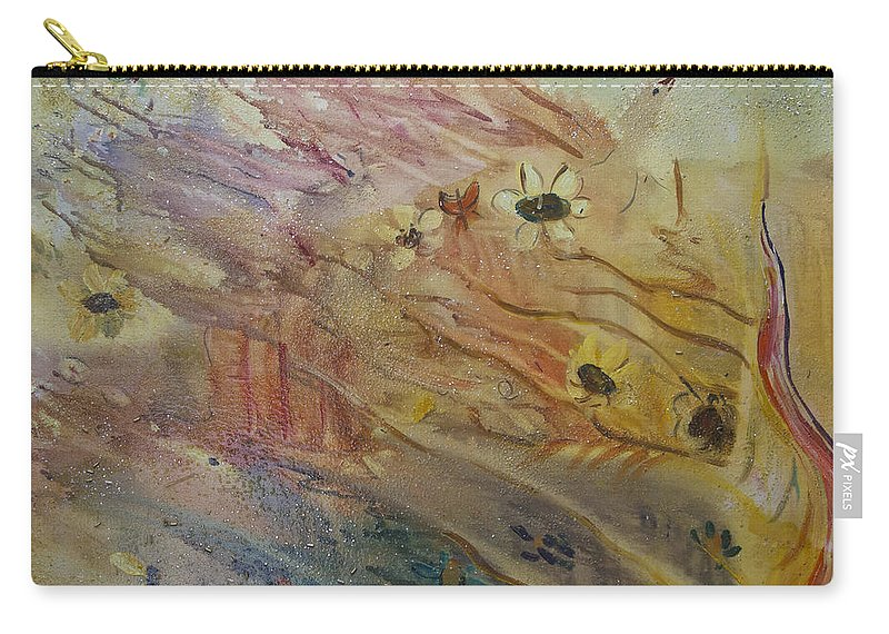 Daisy Wall Art Carry-all Pouch featuring the painting The Daisy Patch #1 by Avonelle Kelsey