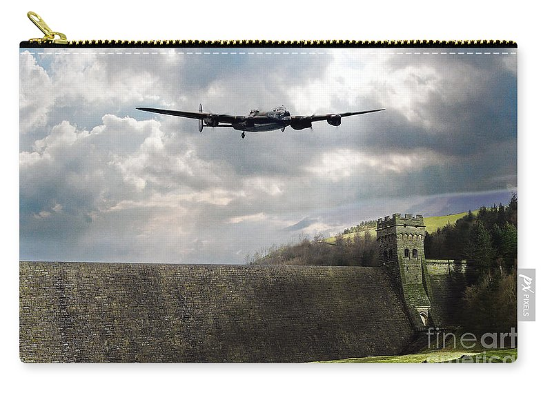 Dam Busters Lancaster Carry-all Pouch featuring the digital art The Dambusters Over The Derwent by J Biggadike