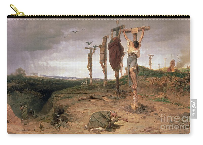 Crucifixion; Crucified; Executed; Dead; Mourning; Crying; Weeping; Sorrow; Dramatic; Capital Punishment; Grief; Martyr; Christian; Cross; Dying; Male Carry-all Pouch featuring the painting The Damned Field Execution Place In The Roman Empire by Fedor Andreevich Bronnikov