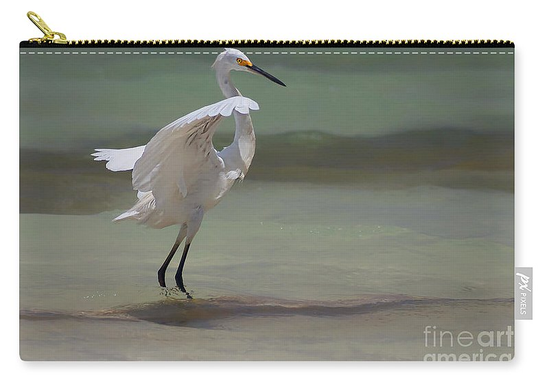 Egret Carry-all Pouch featuring the photograph The Dance by John Edwards