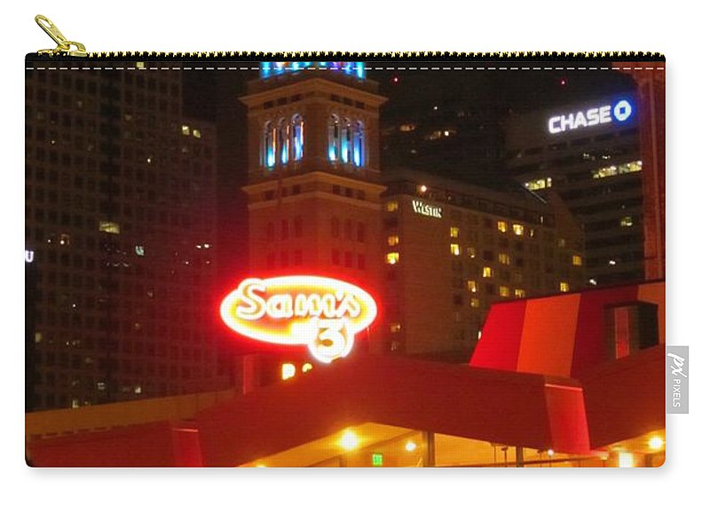 City At Night Art Carry-all Pouch featuring the photograph The Daniels And Fisher Tower At Night by John Malone