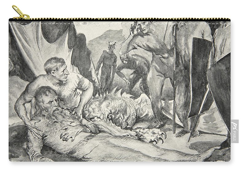 Beowulf Carry-all Pouch featuring the drawing The Death Of Beowulf by John Henry Frederick Bacon