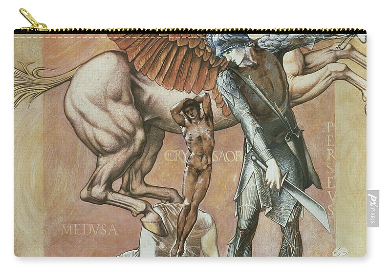 Horse Carry-all Pouch featuring the drawing The Death Of Medusa I, C.1876 by Sir Edward Coley Burne-Jones