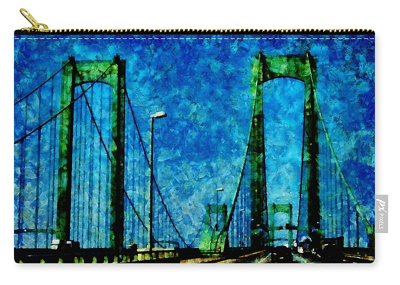 Delaware Memorial Bridge Carry-all Pouch featuring the photograph The Delaware Memorial Bridge by Angelina Tamez