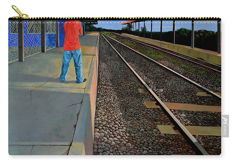 Railroad Carry-all Pouch featuring the painting The Distance Of Solitude by Christopher Shellhammer