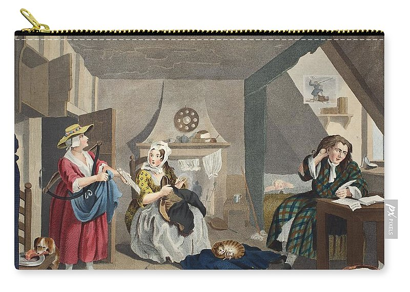 Interior Carry-all Pouch featuring the drawing The Distressed Poet, Illustration by William Hogarth