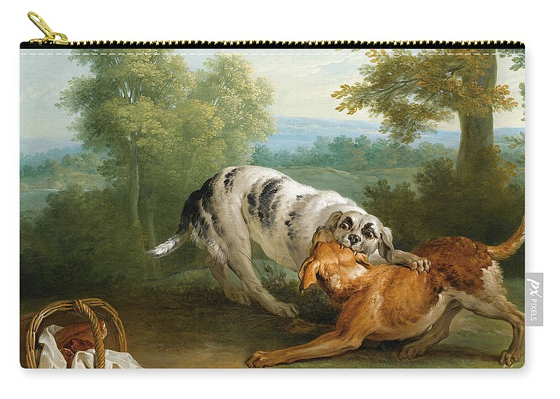 Jean-baptiste Oudry Carry-all Pouch featuring the painting The Dog Carring His Dinner To His Master by Jean-Baptiste Oudry