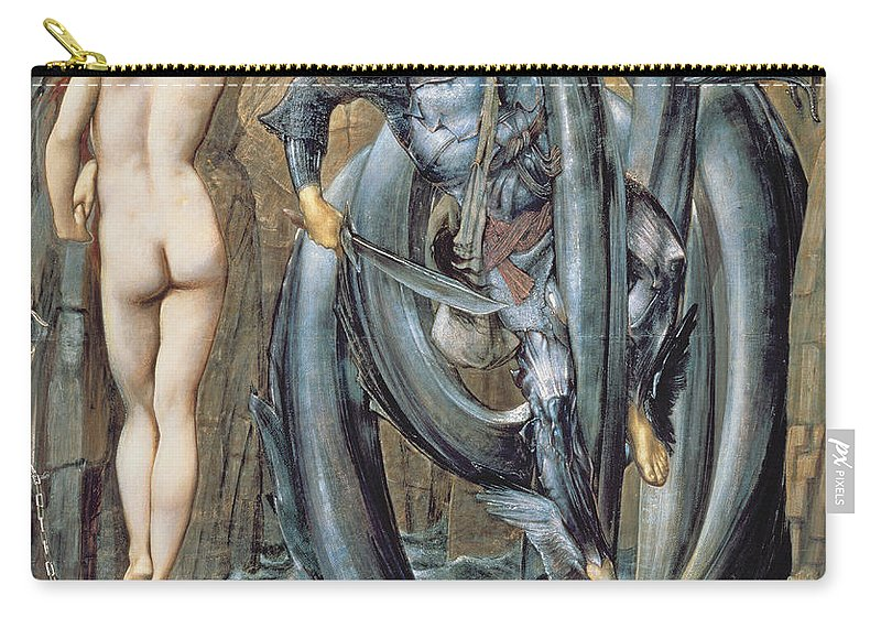 Pre-raphaelite Carry-all Pouch featuring the drawing The Doom Fulfilled C.1882 by Sir Edward Coley Burne-Jones