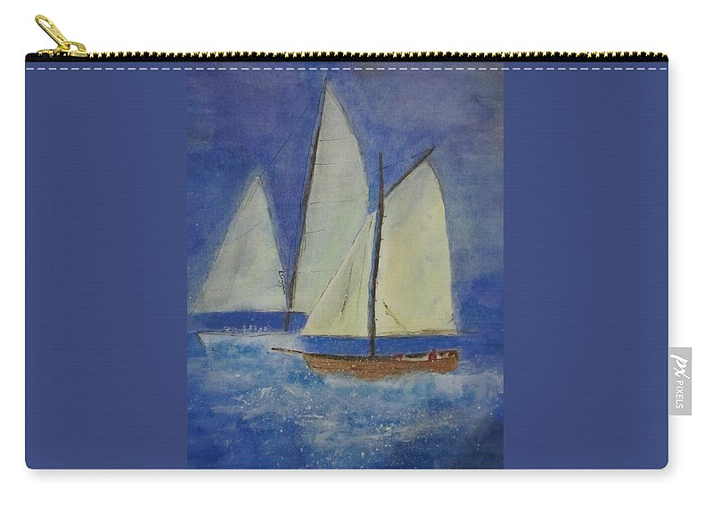 Yachts Carry-all Pouch featuring the painting The Doreen by Elvira Ingram