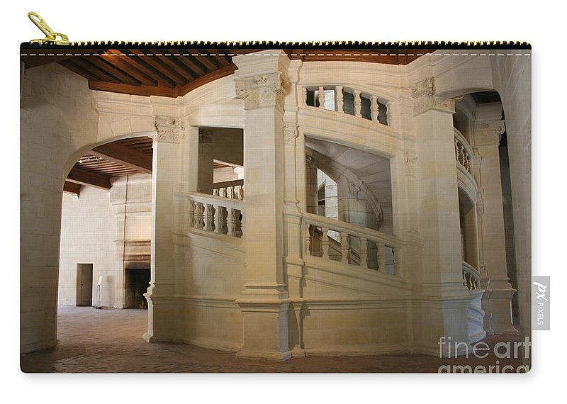 Staircase Carry-all Pouch featuring the photograph The Double-helix Staircase Chateau Chambord - France by Christiane Schulze Art And Photography