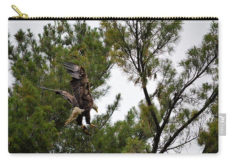 Eagle Carry-all Pouch featuring the photograph The Drop Off by Bonfire Photography