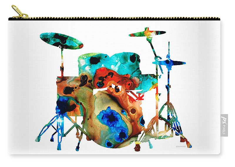 Drum Carry-all Pouch featuring the painting The Drums - Music Art By Sharon Cummings by Sharon Cummings