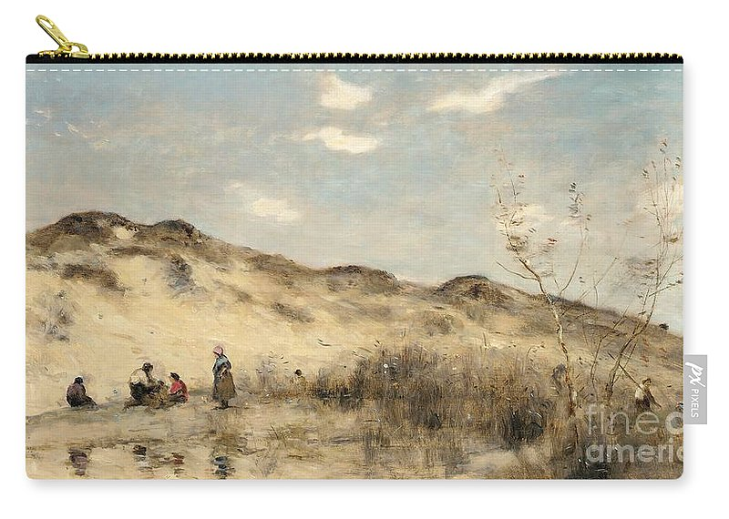 Dune; Dunes; Sand Dune; Sand Dunes; Beach; Coast; Coastal; Seaside; Barbizon; Dunkirk; Dunkerque; Landscape; France; French; Figures Carry-all Pouch featuring the painting The Dunes Of Dunkirk by Jean Baptiste Camille Corot