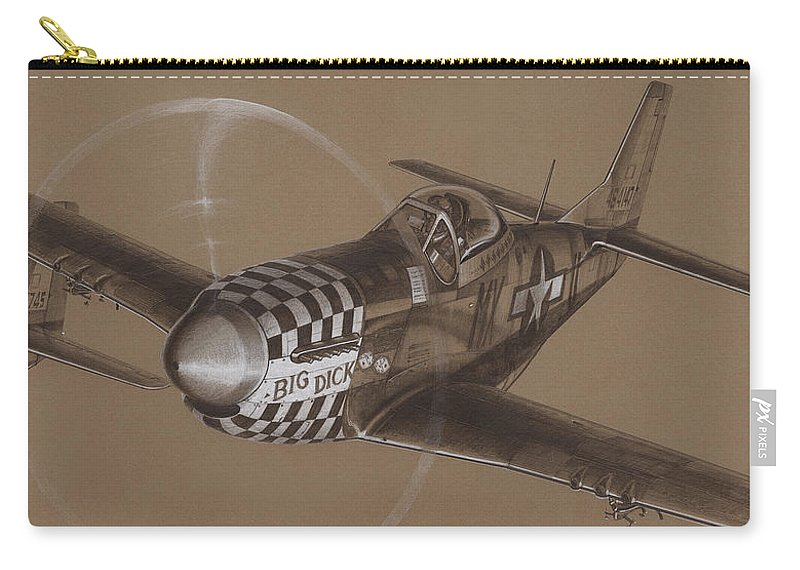 P-51 Mustang Carry-all Pouch featuring the drawing The Duxford Boys Drawing by Wade Meyers