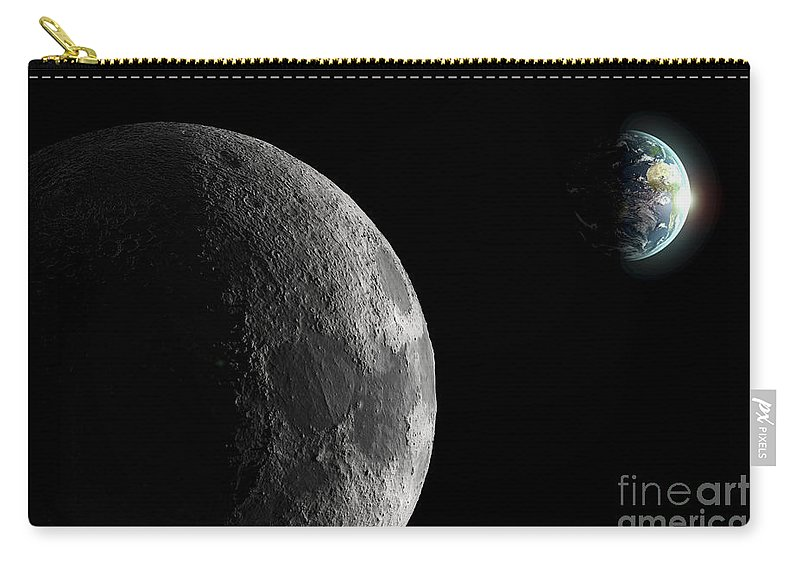 Space Carry-all Pouch featuring the photograph The Earth And Moon by Science Picture Co