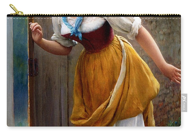 Eugene De Blaas Carry-all Pouch featuring the digital art The Eavesdropper by Eugene de Blaas
