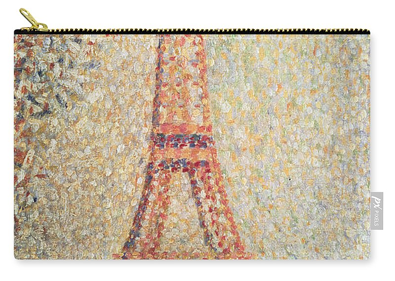 Tour; Pointillist; Neo; Impressionist; Paris Carry-all Pouch featuring the painting The Eiffel Tower by Georges Pierre Seurat