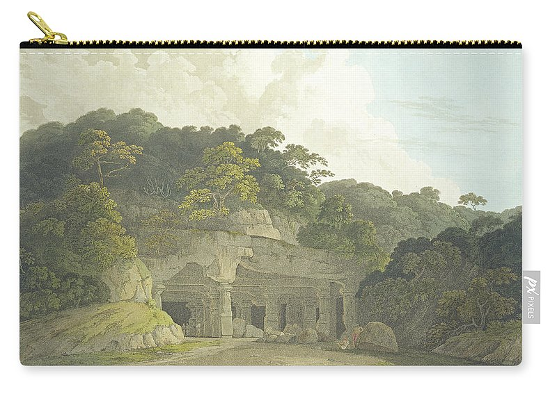 Hindustan Carry-all Pouch featuring the drawing The Entrance To The Elephanta Cave by Thomas & William Daniell