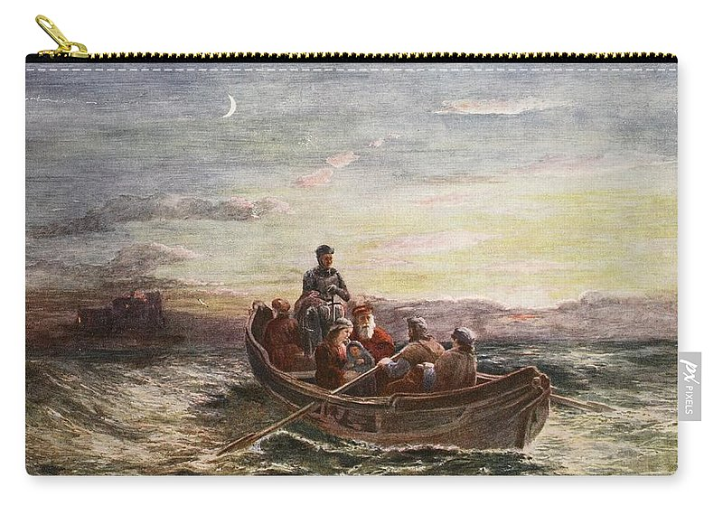 Stuart Carry-all Pouch featuring the drawing The Escape Of Mary Queen Of Scots by Francis Danby