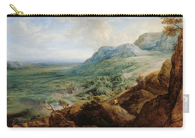 Landscape Carry-all Pouch featuring the painting The Escorial, From A Foothill by Lucas van Uden