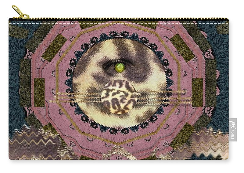 Tiger Carry-all Pouch featuring the mixed media The Eye Of The Hidden Tiger by Pepita Selles