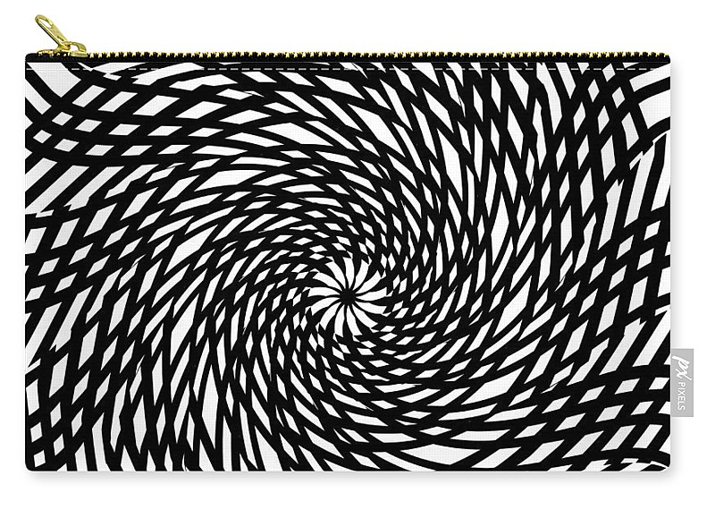 Abstract Lines Forms Spirale Eye Storm Expressionism Black White Digital Art Carry-all Pouch featuring the painting The Eye Of The Storm by Steve K