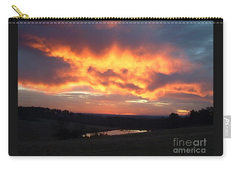 Reid Callaway Sun Carry-all Pouch featuring the photograph The Sunrise Face In The Clouds by Reid Callaway