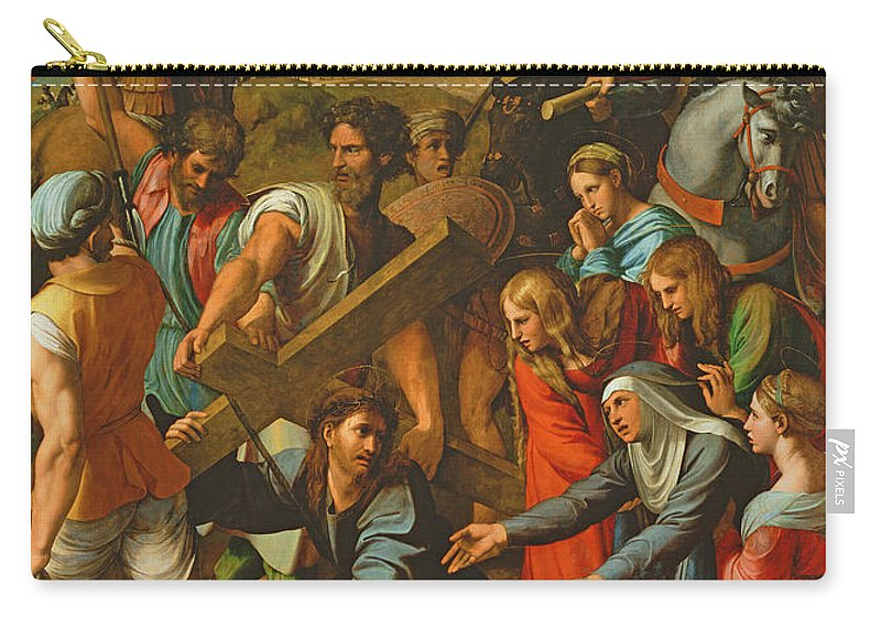 Cross Carry-all Pouch featuring the photograph The Fall On The Road To Calvary, 1517 Oil On Canvas by Raphael