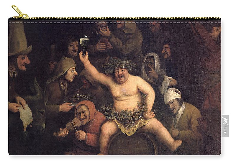 Bredius Museum Carry-all Pouch featuring the painting The Feast Of Bacchus, 1654 by Phillips de Koninck