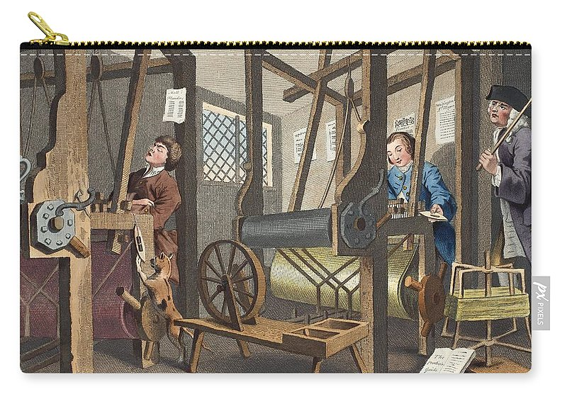 Apprentice Carry-all Pouch featuring the drawing The Fellow Prentices At Their Looms by William Hogarth