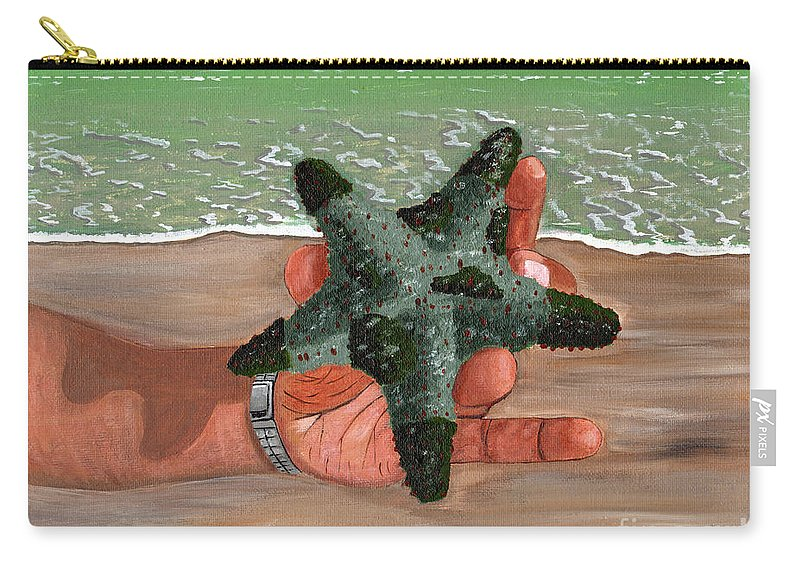 Starfish Carry-all Pouch featuring the painting The Find by Laura Forde
