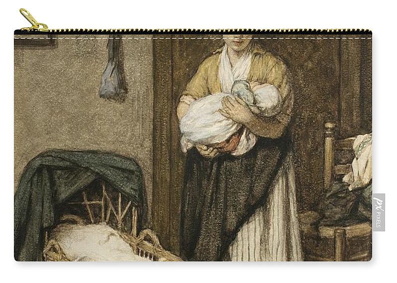 Firstborn Carry-all Pouch featuring the drawing The Firstborn, 1875 by David Adolph Constant Artz