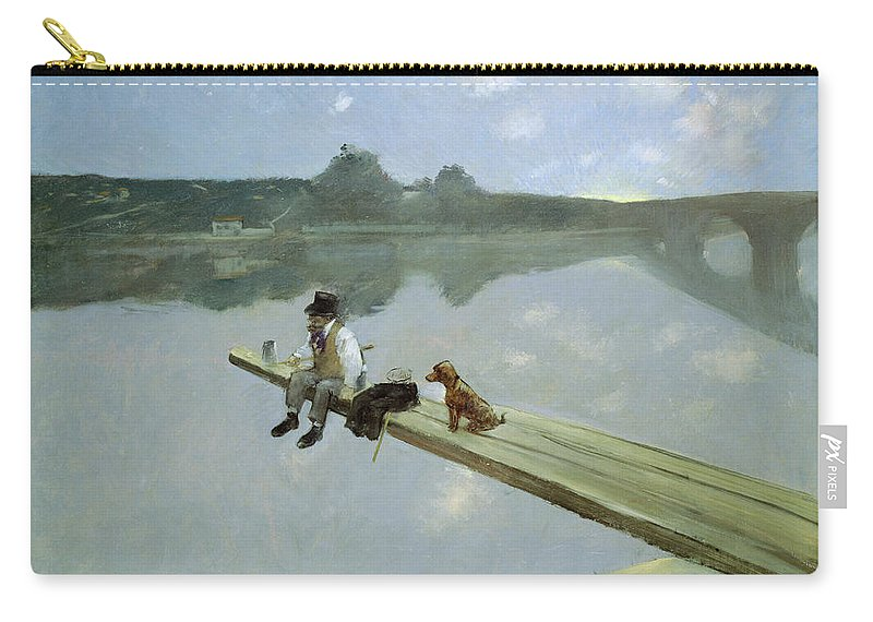 Dog Carry-all Pouch featuring the painting The Fisherman, 1884 by Jean Louis Forain