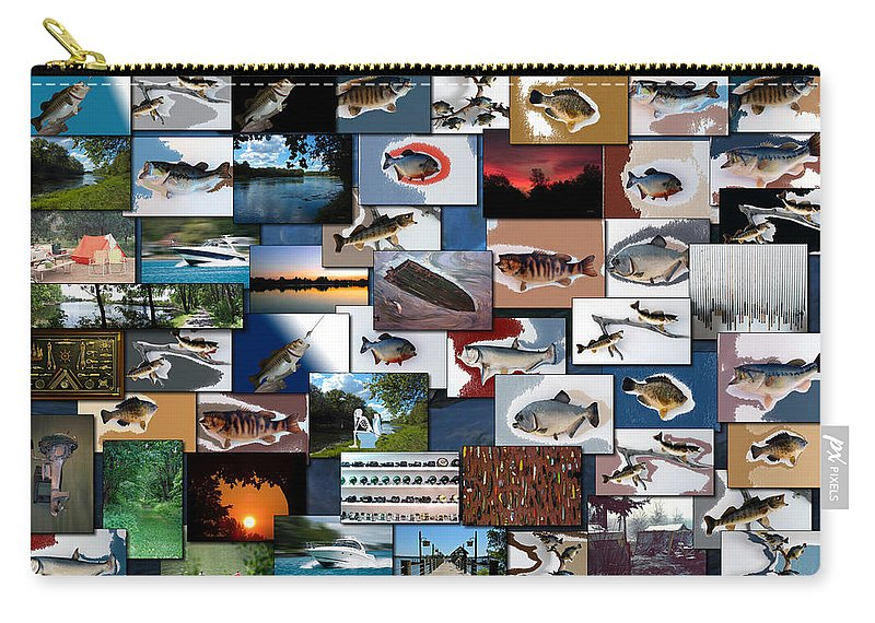 Rectangle Carry-all Pouch featuring the photograph The Fishing Hole Collage Rectangle by Thomas Woolworth