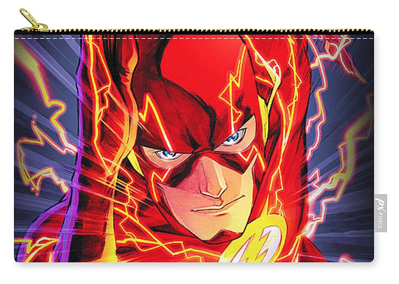 The Flash Carry-all Pouch featuring the drawing The Flash by FHT Designs