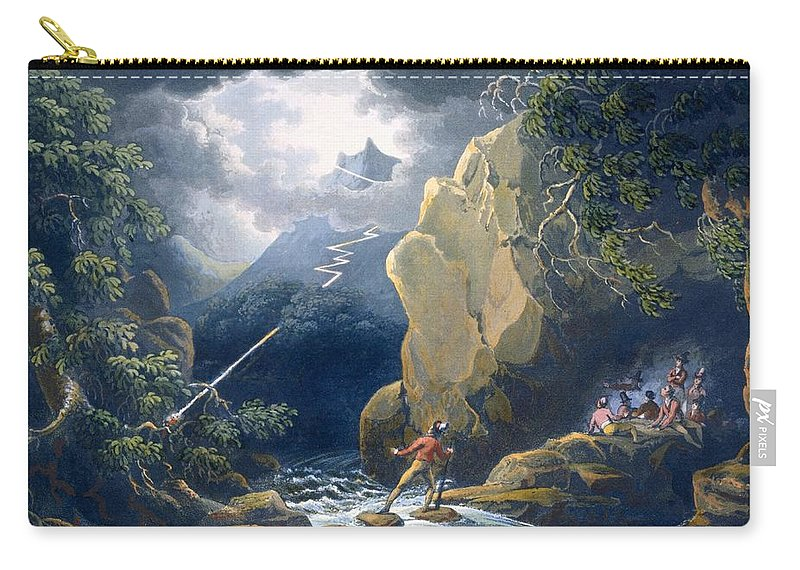Landscape Carry-all Pouch featuring the drawing The Flash Of Lightening Caught by Philip James de Loutherbourg