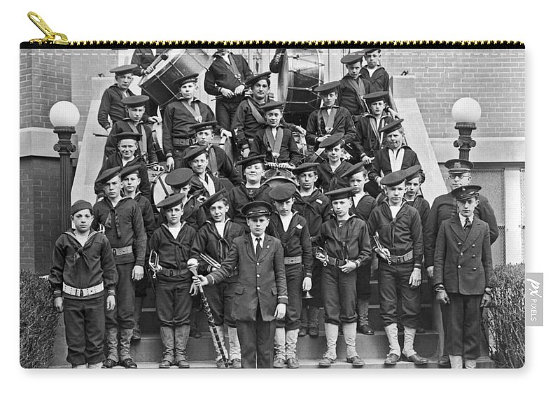 10-15 Years Carry-all Pouch featuring the photograph The Flatbush Boys' Club Band by Underwood Archives