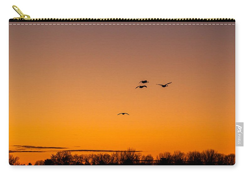 Goose Carry-all Pouch featuring the photograph The Flock Grows by Thomas Sellberg