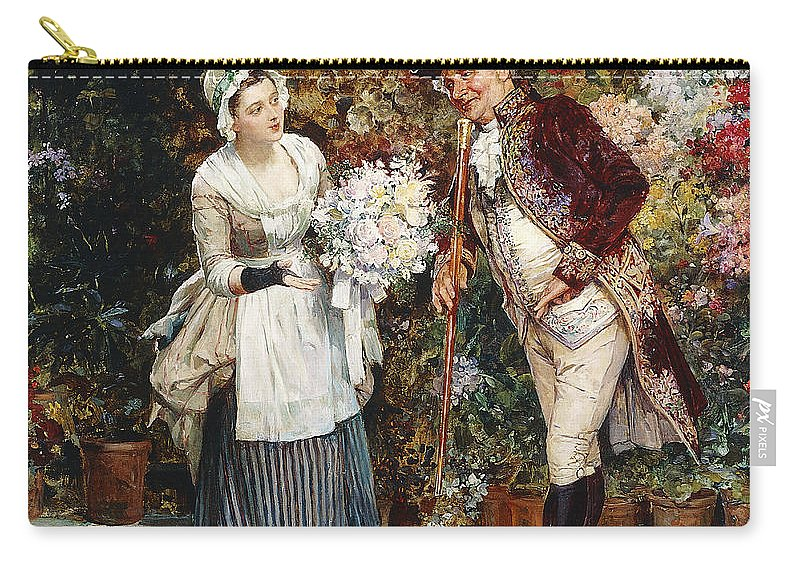 Apparel Carry-all Pouch featuring the painting The Flower Girl by Henry Gillar Glindoni