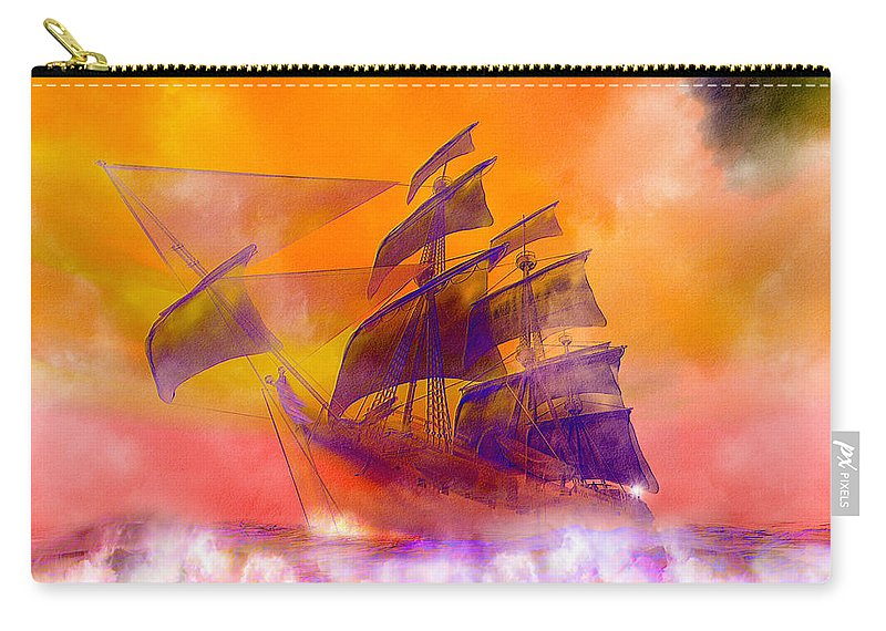 Doomed Carry-all Pouch featuring the digital art The Flying Dutchman Ghost Ship by Carol and Mike Werner