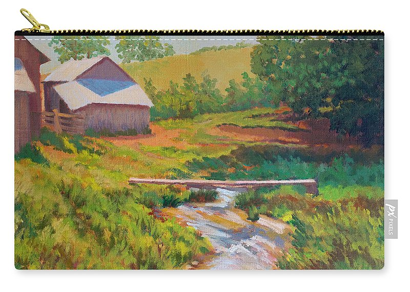 Impressionism Carry-all Pouch featuring the painting The Foot Bridge by Keith Burgess