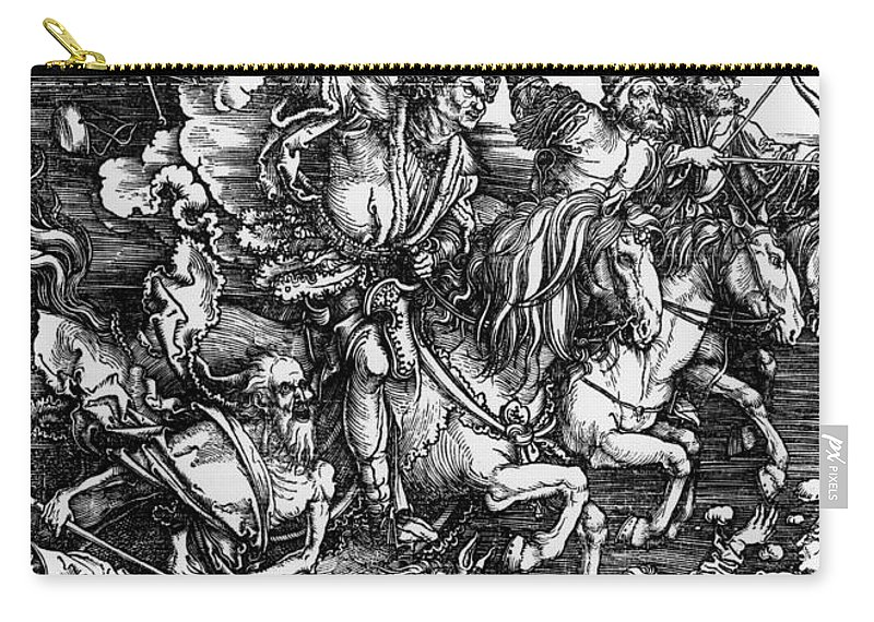 4 Carry-all Pouch featuring the painting The Four Horsemen Of The Apocalypse by Albrecht Durer