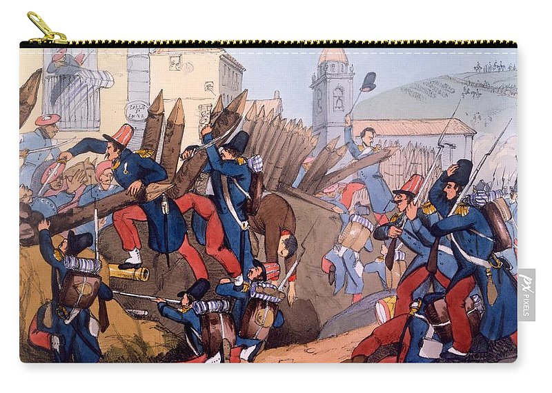 French Legion Storming A Carlist Entrenchment Carry-all Pouch featuring the drawing The French Legion Storming A Carlist by English School
