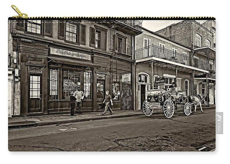 French Quarter Carry-all Pouch featuring the photograph The French Quarter Sepia by Steve Harrington