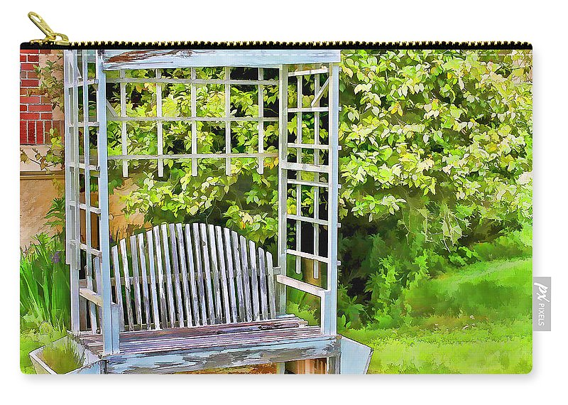 Garden Bench Carry-all Pouch featuring the photograph The Garden Bench In Spring by Cathy Anderson