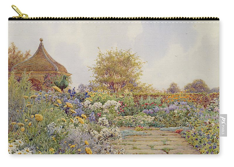 Garden Carry-all Pouch featuring the drawing The Gardens At Chequers Court by Ernest Arthur Rowe