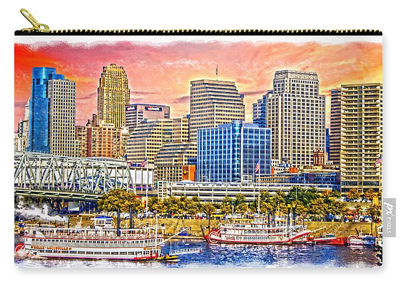 Garish City Carry-all Pouch featuring the photograph The Garish City Cincinnati by Randall Branham
