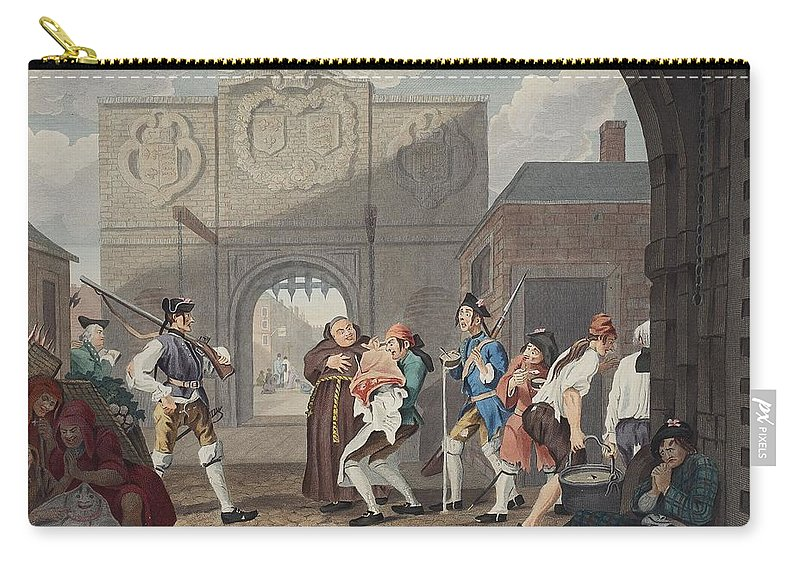 French Soldiers Carry-all Pouch featuring the drawing The Gate Of Calais, Or O The Roast Beef by William Hogarth