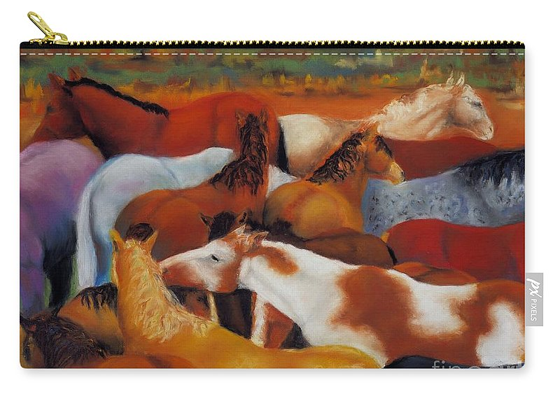 Herd Of Horses Carry-all Pouch featuring the painting The Gathering by Frances Marino