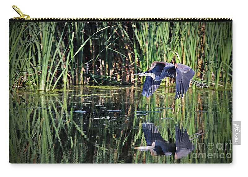 Great Blue Heron Carry-all Pouch featuring the photograph The Getaway by Elizabeth Winter